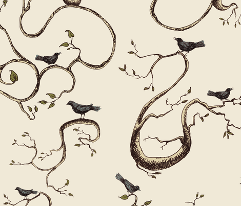 birds-branches-flattened fabric by danab78 on Spoonflower - custom fabric