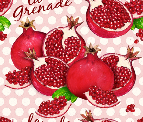 Pomegranates fabric by cassiopee on Spoonflower - custom fabric