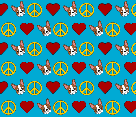 Peace, love & colorful Boston Terriers fabric by missyq on Spoonflower - custom fabric