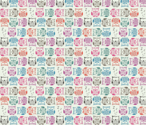 sherbet owls light fabric by scrummy on Spoonflower - custom fabric