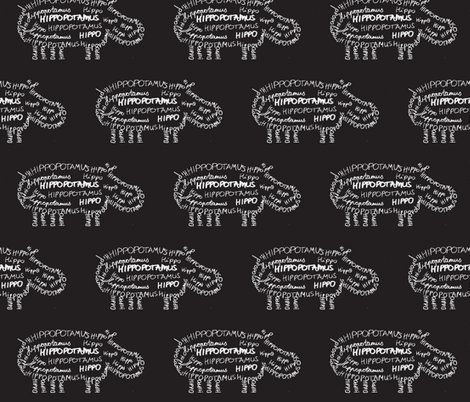 Hippo Calligram White on Black fabric by blue_jacaranda on Spoonflower - custom fabric