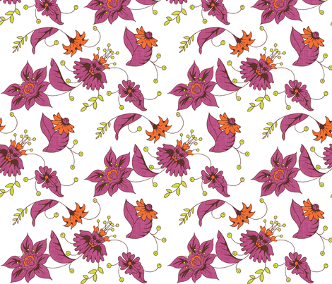 boho_fleur_white fabric by holli_zollinger on Spoonflower - custom fabric