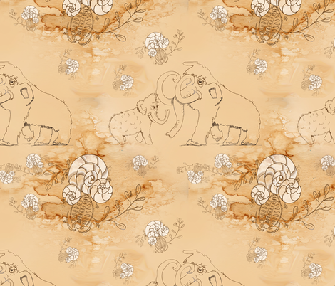 Ancient Cave Drawings fabric by aftermyart on Spoonflower - custom fabric