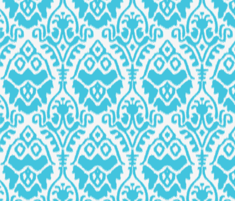 Turquoise and White Ikat