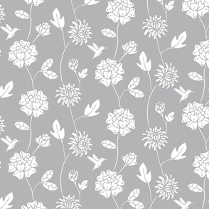 Grey and White Hummingbird Floral