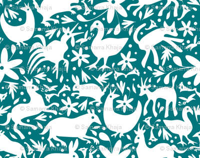 Mexico Springtime: White on Dark Teal