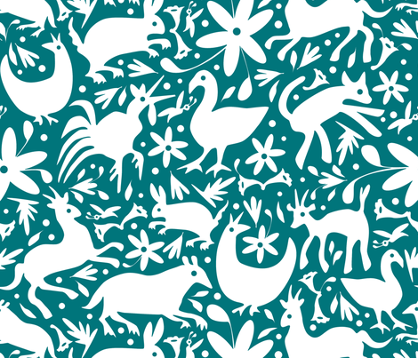 Mexico Springtime: White on Dark Teal fabric by sammyk on Spoonflower - custom fabric