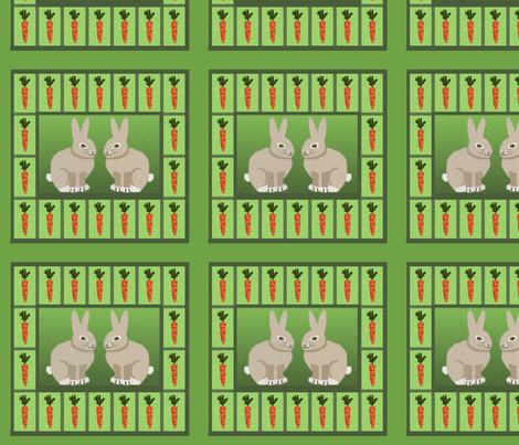 Carrots and Rabbits Tiles fabric by nezumiworld on Spoonflower - custom fabric