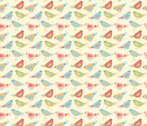 Here Birdie, Birdie fabric by ©_lana_gordon_rast_ on Spoonflower - custom fabric