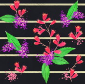 Fuschia Bold Flowers and Stripes
