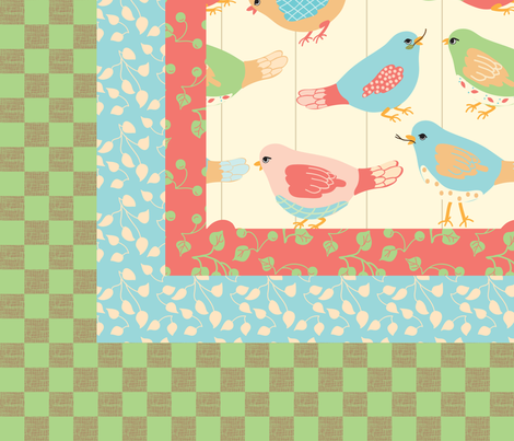 Here_Birdie__Birdie_quilt_top fabric by lana_gordon_rast_ on Spoonflower - custom fabric