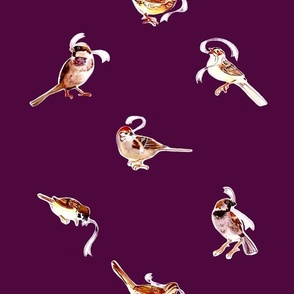 Fall Sparrows in Plum