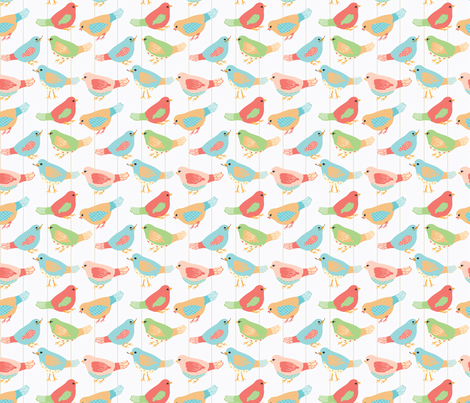 Here Birdie, Birdie_1_White fabric by ©_lana_gordon_rast_ on Spoonflower - custom fabric