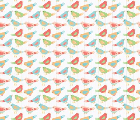 Here Birdie, Birdie_1_White fabric by lana_gordon_rast_ on Spoonflower - custom fabric
