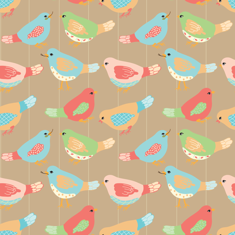 Here Birdie, Birdie_1_Brown fabric by ©_lana_gordon_rast_ on Spoonflower - custom fabric