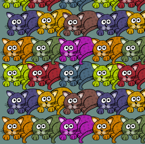 Colorful cartoon cats on turquoise. fabric by graphicdoodles on Spoonflower - custom fabric