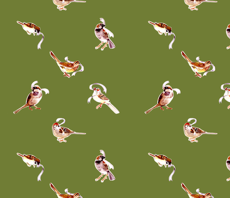 Fall Sparrows in Sage fabric by abracadabra on Spoonflower - custom fabric