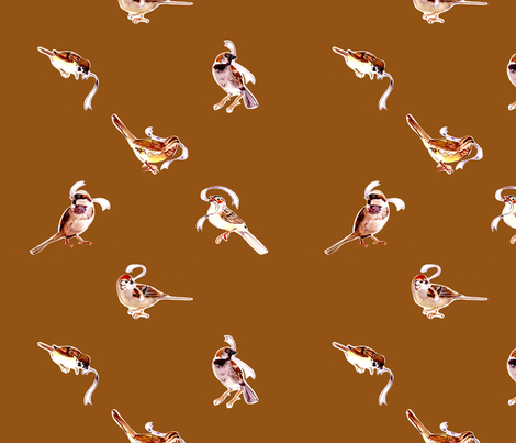 Fall Sparrows in Spice fabric by abracadabra on Spoonflower - custom fabric
