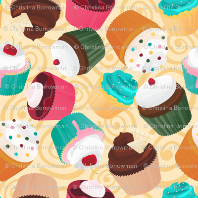 Cupcakes and Swirls Collection - Cupcakes on Yellow by JoyfulRose