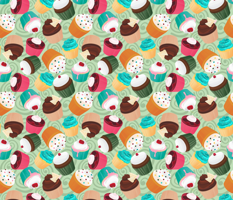 Cupcakes and Swirls Collection - Cupcakes on Green by JoyfulRose fabric by joyfulrose on Spoonflower - custom fabric