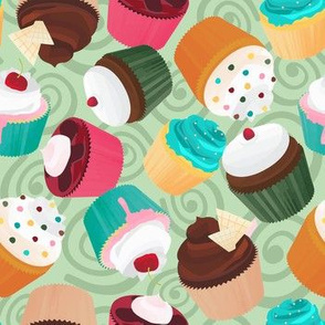 Cupcakes and Swirls Collection - Cupcakes on Green by JoyfulRose