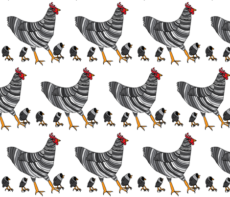 Barred Rock Chickens fabric by heartfullofbirds on Spoonflower - custom fabric