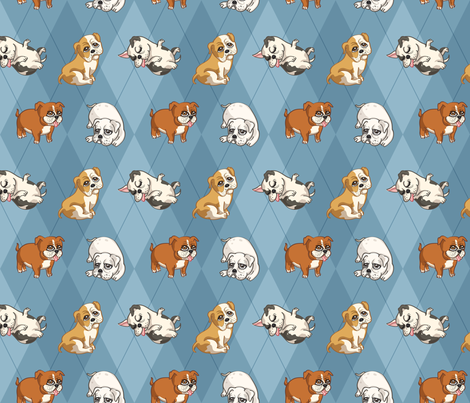English Bulldogs (Blue) fabric by jaana on Spoonflower - custom fabric