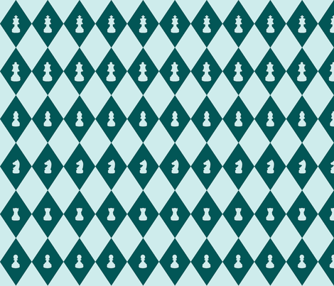 Chessboard Check in Teal-Mint fabric by charmcitycurios on Spoonflower - custom fabric