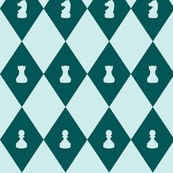 Chessboard Check in Teal-Mint