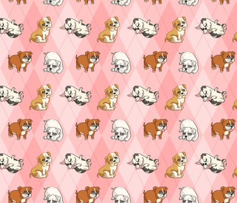 English Bulldogs (Pink) fabric by jaana on Spoonflower - custom fabric