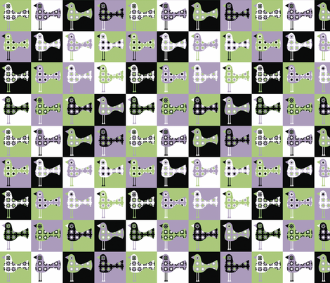 Patchwork Flower Birds Green & Purple Colourway
