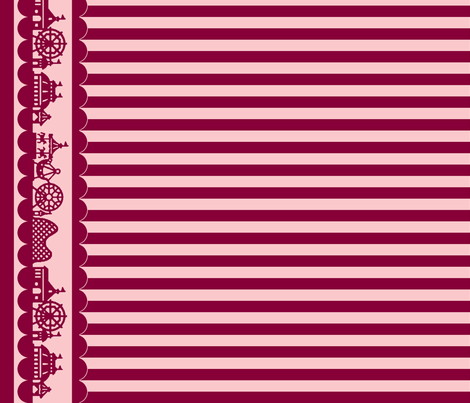 Carnival Border with Stripes in Raspberry fabric by charmcitycurios on Spoonflower - custom fabric