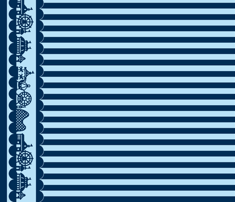 Carnival Border with Stripes in Blueberry fabric by charmcitycurios on Spoonflower - custom fabric