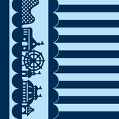 Carnival Border with Stripes in Blueberry