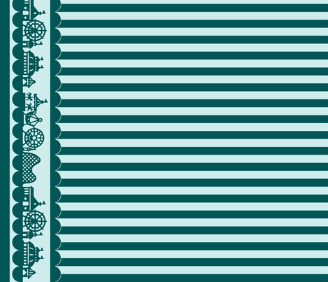 Carnival Border with Stripes in Teal-Mint fabric by charmcitycurios on Spoonflower - custom fabric