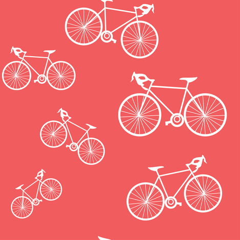 Silhouette Bikes: Coral fabric by frontdoor on Spoonflower - custom fabric