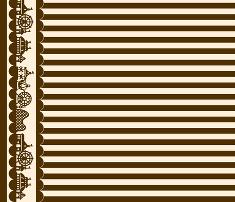 Carnival Border with Stripes in Brown on Cream fabric by charmcitycurios on Spoonflower - custom fabric