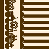 Carnival Border with Stripes in Brown on Cream