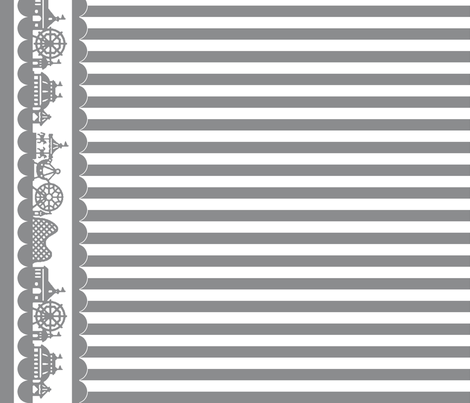 Carnival Border with Stripes in Gray on White fabric by charmcitycurios on Spoonflower - custom fabric