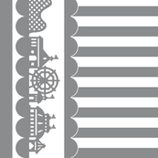 Carnival Border with Stripes in Gray on White