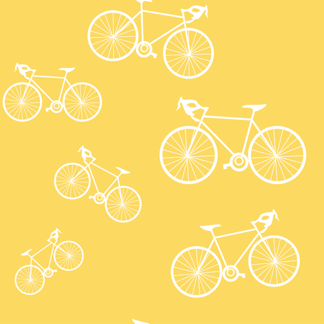 Silhouette Bikes: Yellow fabric by frontdoor on Spoonflower - custom fabric