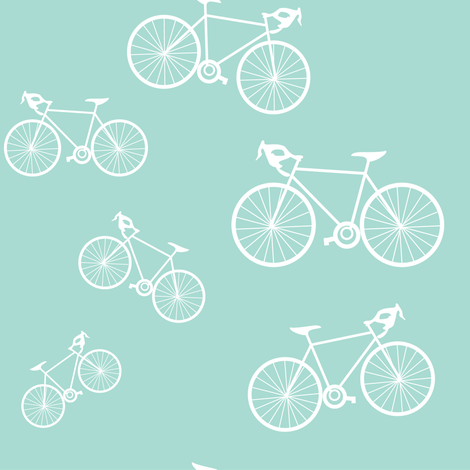 Silhouette Bikes: Mint Blue fabric by frontdoor on Spoonflower - custom fabric