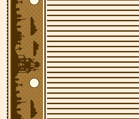 Graveyard Striped Border in Brown on Cream fabric by charmcitycurios on Spoonflower - custom fabric