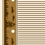Graveyard Striped Border in Brown on Cream