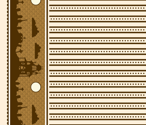 Graveyard Dot-Striped Border in Brown on Cream fabric by charmcitycurios on Spoonflower - custom fabric