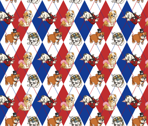 Fancy English Bulldogs (Patriotic) fabric by jaana on Spoonflower - custom fabric
