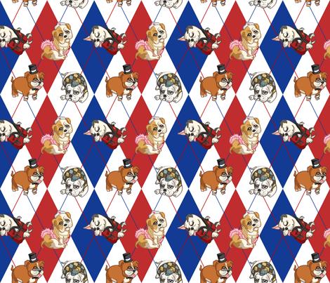 Fancy English Bulldogs (Patriotic) fabric by jaana on Spoonflower - custom fabric