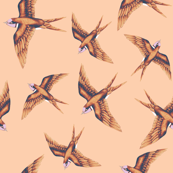 Swooping Swallow in Copper on Peach