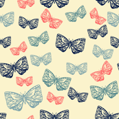 Moth B, Blue and Coral on Cream