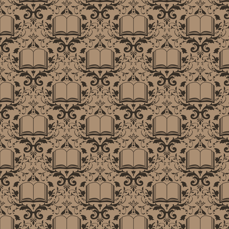 Book Damask Neutral fabric by spacefem on Spoonflower - custom fabric